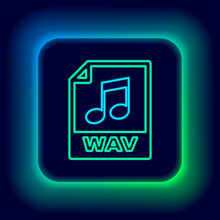 Glowing Neon Line WAV File Document. Download Wav Button Icon Isolated On Black Background. WAV Waveform Audio File Format For Digital Audio Riff Files. Colorful Outline Concept. Vector.