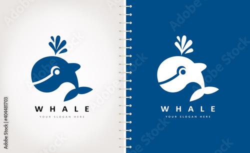 Fotografie, Obraz Whale logo vector. Animal marine mammals design.