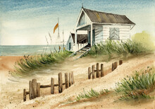 Watercolor Illustration Of A Summer House On A Sandy Seashore With Grass, Destroyed Wooden Fence And Boat Masts In The Background