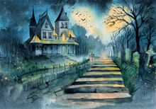 Watercolor Illustration Of A Gothic Manor House With An Abandoned Garden, A Metal Fence With A Gate And An Old Cemetery With Old Tombstones