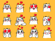 Cat Emoticons With Heart. Cartoon Cute Emotions Of Home Loving Animals, Vector Illustration Of Emoji With Funny Pets Isolated On Yellow Background