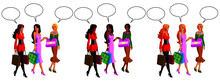 Vector Illustration Of Women Shopping And Chatting With Speech Bubble.