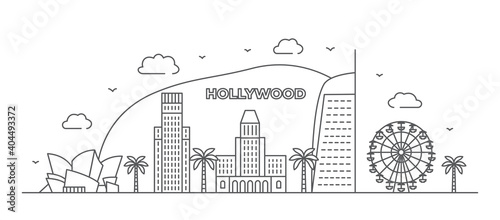 Stampa su Tela Los Angeles Line drawing Hollywood illustration in line style on white backgroun