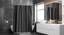 Blank Black Closed Shower Curtain Mockup, Half-turned View