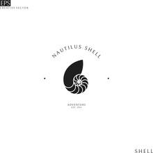 Nautilus Shell. Isolated Logo On White Background