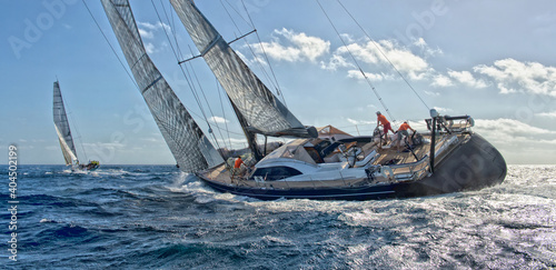 Photo Sailing yacht regatta. Yachting. Sailing