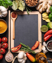 Vegetables And Spices,blackboard And Wooden Spoon