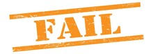 FAIL Text On Orange Grungy Lines Stamp.