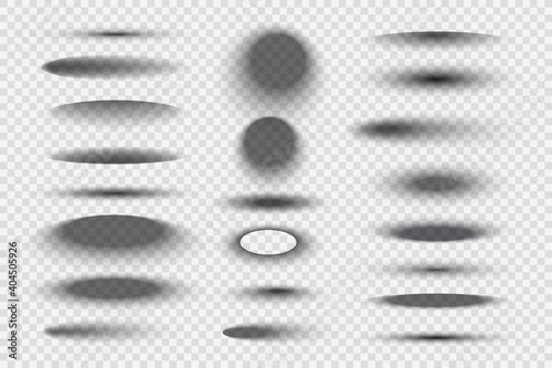 Oval round shadows. Circular realistic transparent gradient shapes decent vector templates collection. Illustration shadow transparent realistic, surface shade