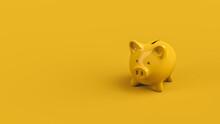 Niedliches Gelbes Sparschwein Als Spardose Oder Sparbüchse Vor Farbigen Studio Hintergrund Erinnert Ans Sparen Und Anlegen Vom Ersparten Geld Als 3D Rendering