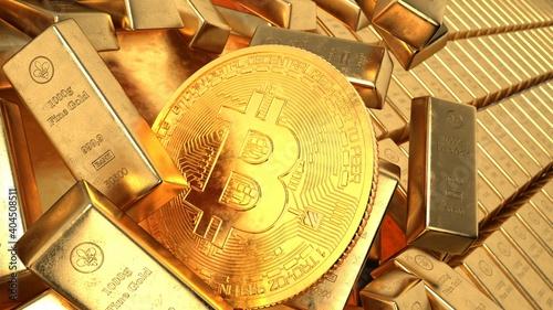 Obraz Gold Bars Bitcoin - fototapety do salonu