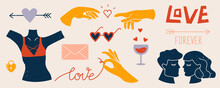 Big Set Of Trendy Abstract Love Elements. Decorative Collection Of Hand Drawn Romantic Illustrations: Couple, Touching Hands, Hearts, Lettering, Arrows, Sunglasses. Isolated Colorful Flat Vector