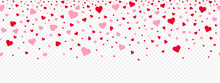 Valentine's Day Pink Hearts Petals Falling On A Transparent Background. Valentine's Day Concept. Vector Festive Banner