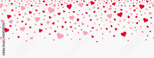 Photographie Valentine's day pink hearts petals falling on a transparent background