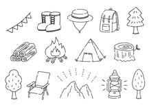 アウトドア・キャンプの手描きのイラストセット