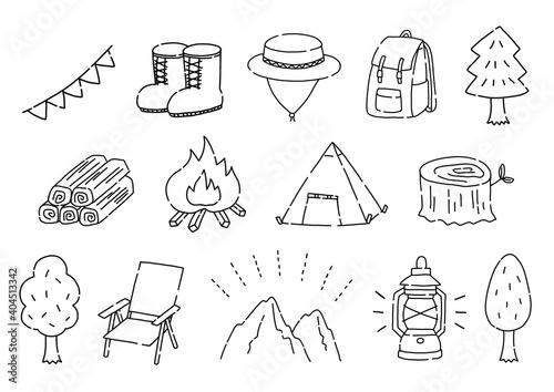 Obraz アウトドア・キャンプの手描きのイラストセット - fototapety do salonu