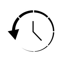 Clock And Circular Arrow Vector Icon