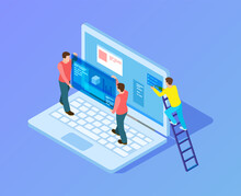 Web Interface Upgrade. Web Developers, Programmers At Work. Isometric People Working With Laptop, Content Replacement Vector Illustration. Programmer Development Network Interface