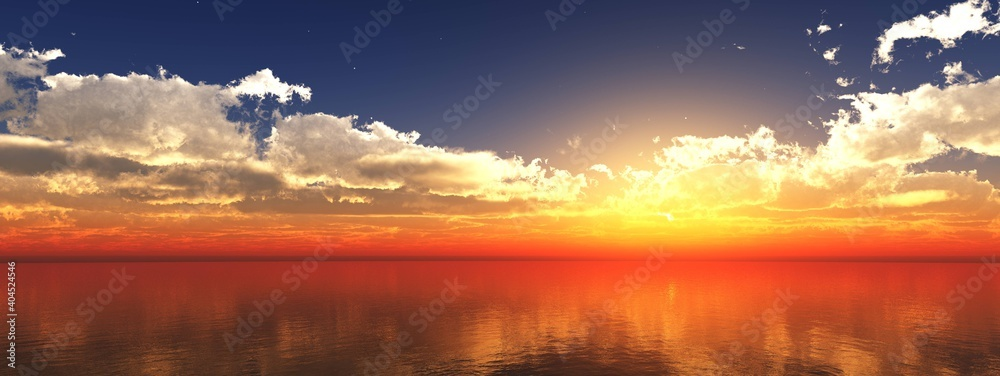 Fototapeta Ocean, sunset in the ocean, sea sunset, panorama of the seascape at sunset, panorama of the ocean landscape at sunrise, 3D rendering
