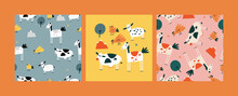 Vector Flat Illustartions Set Of Standing Animals - Horse, Cow, Chicken And Bird With Sheep. Funny Characters For Kids. Cartoon Style Seamless Patterns.