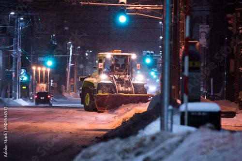 Tela 夜の除雪風景 / 北海道札幌市
