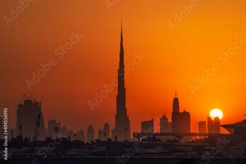 Burj Khalifa Against Orange Sky Fototapet