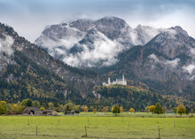 A View Of Neuschwanstein Castle In Bavarian Alps, Germany