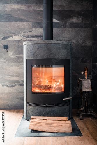 Canvas Print au coin du feu de cheminé, chaleur, hiver, froid
