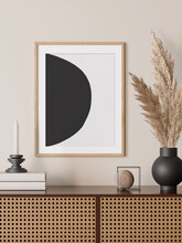 3d Render Of A Modern Beige And Black Mockup Interior With Wooden Frame On An Empty Wall And A Black Vase With Pampas Grass