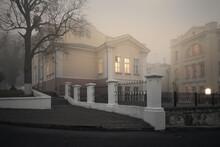 Gomel, Belarus - October 23, 2015: Morning. Frunze Street. Hospital