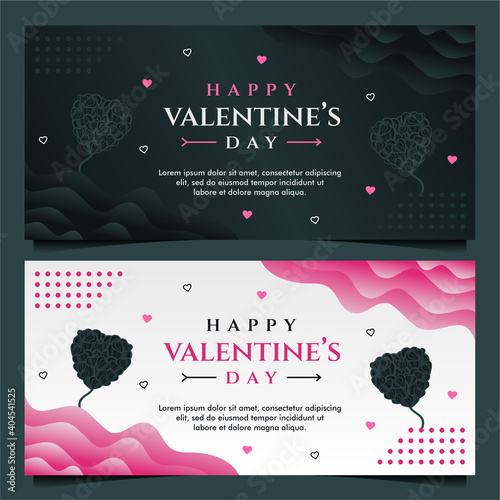 Canvas Print happy Valentine's day banner template with dark and grey background