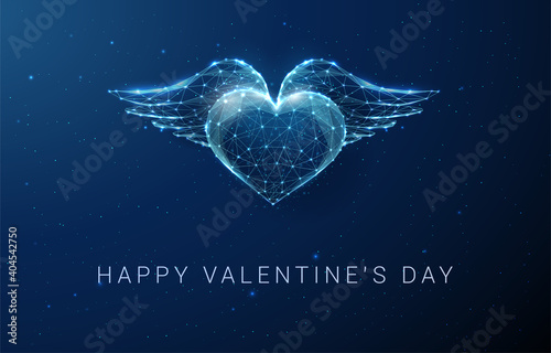 Canvas AbAbstract blue heart with wings. Happy Valentine's day card