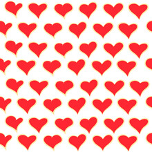 Freehand Drawing Of Red Hearts With Gold Outline On A White Background. Seamless Pattern For Valentine's Day.