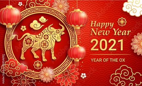 Photo Chinese new year 2021 greeting card background the year of the ox