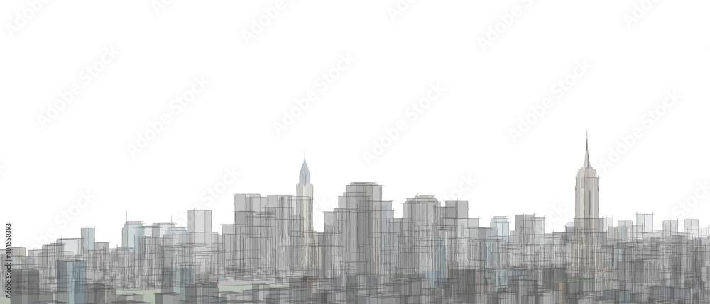 Fototapeta city industrial landscape 3d illustration