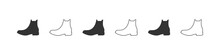 Shoes Icons. Silhouette Of Men's Boots. Shoes Icons Isolated On White Background. Vector Illustration