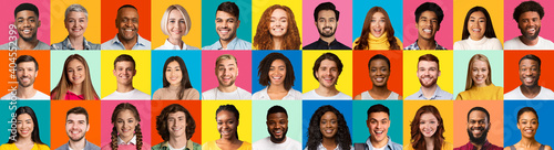 Set Of People Headshots Over Bright Colorful Backgrounds, Collage, Panorama