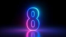 3d Render, Number Eight Glowing In The Dark, Pink Blue Neon Light