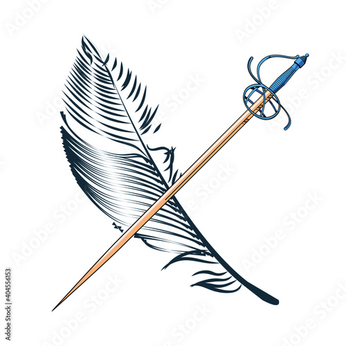 Fotografia vector illustration of a feather and a sword crossed each other, on white background