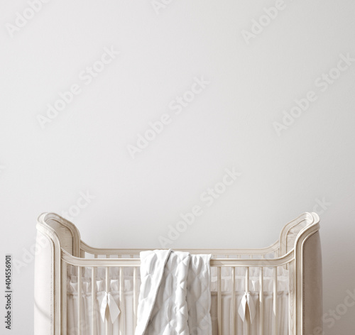 Wall mock up in nursery interior background, 3D render Wallpaper Mural