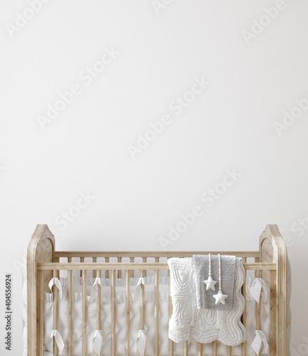 Photo Wall mock up in nursery interior background, 3D render