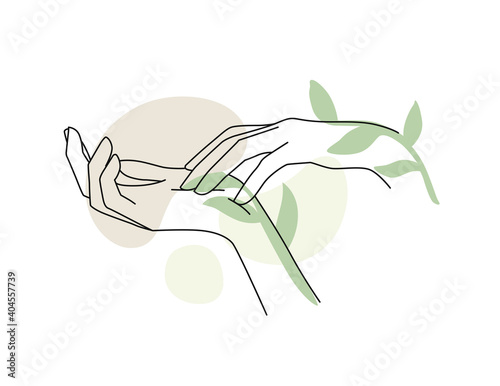 Leinwand Poster Female hands with branch leaf and abstract background