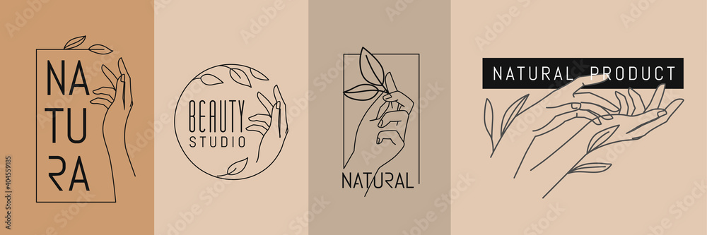 Fototapeta Female hands with leaves. Emblem for spa beauty salon and natural products