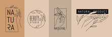Female Hands With Leaves. Emblem For Spa Beauty Salon And Natural Products