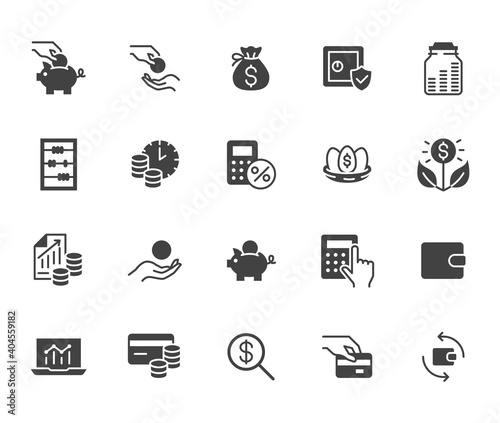 Money income flat icon set. Pension fund, profit growth, piggy bank, finance capital minimal black silhouette vector illustration. Simple glyph signs for investment application