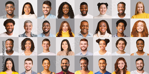 Fototapeta Collage Of Happy Multiracial People Faces On Gray Backgrounds