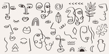 Abstract Tribal Woman Portrait Set In Continuous Line Art. Fashion Contemporary Elements With Ethnic Female Faces, Leaves, Flowers, Shapes In Modern Ink Painting Style. Minimalistic Aesthetic Concept