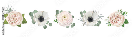 Obraz na plátne anemone ranunculus eucalyptus rose peony flowers and eucalyptus branches bouquet vector illustration, hand drawn floral elements set for greeting cards, wedding invitations