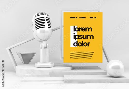 Obraz Podcast Concept on a Podium Mockup - fototapety do salonu