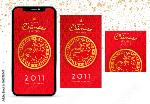 Obraz Social Media Set Chinese New Year Layout - fototapety do salonu